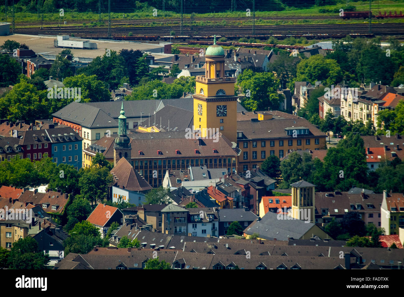 Aerial view, the town hall Witten photographed with the super telephoto lens of Annen, Witten, Ruhrgebiet, - Stock Image