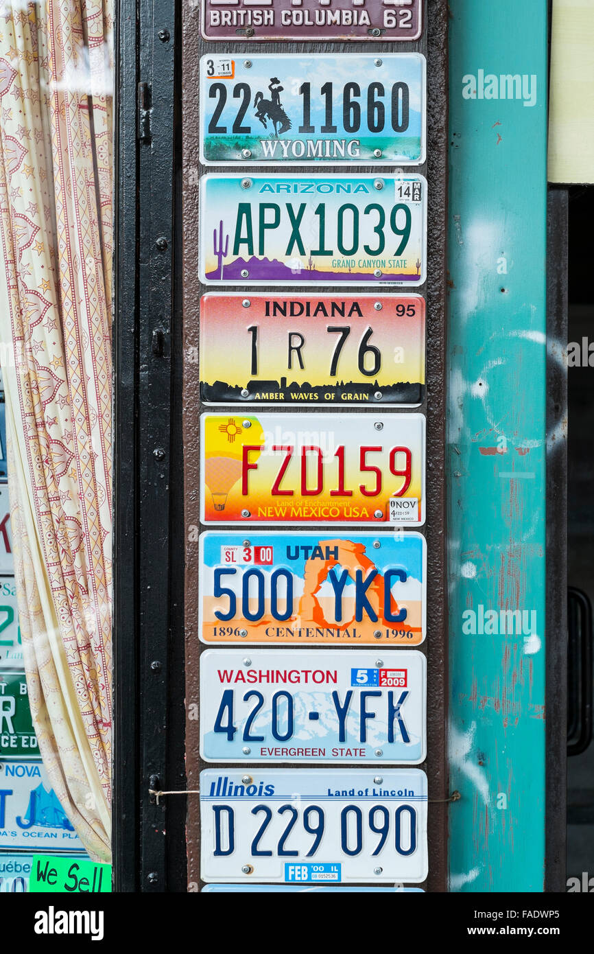 Car number plates Vancouver Canada - Stock Image