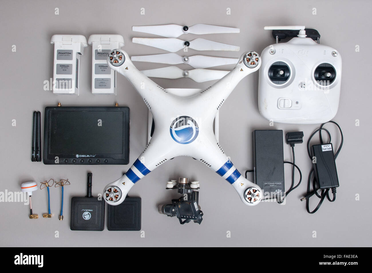 DJI Phantom 2 drone laid out on a table - Stock Image