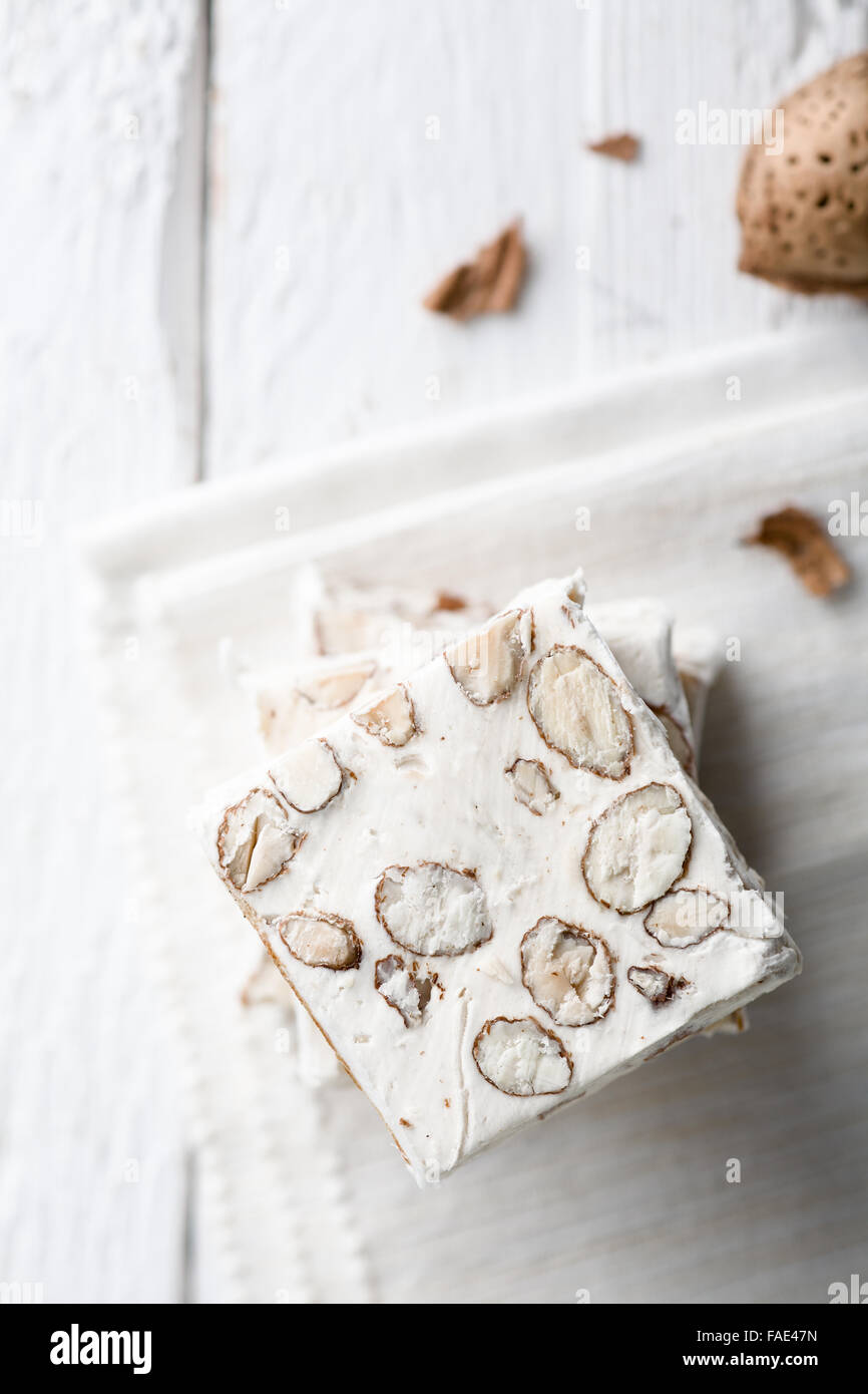 Slices of White Nougat with Almonds, a Traditional Italian Christmas ...