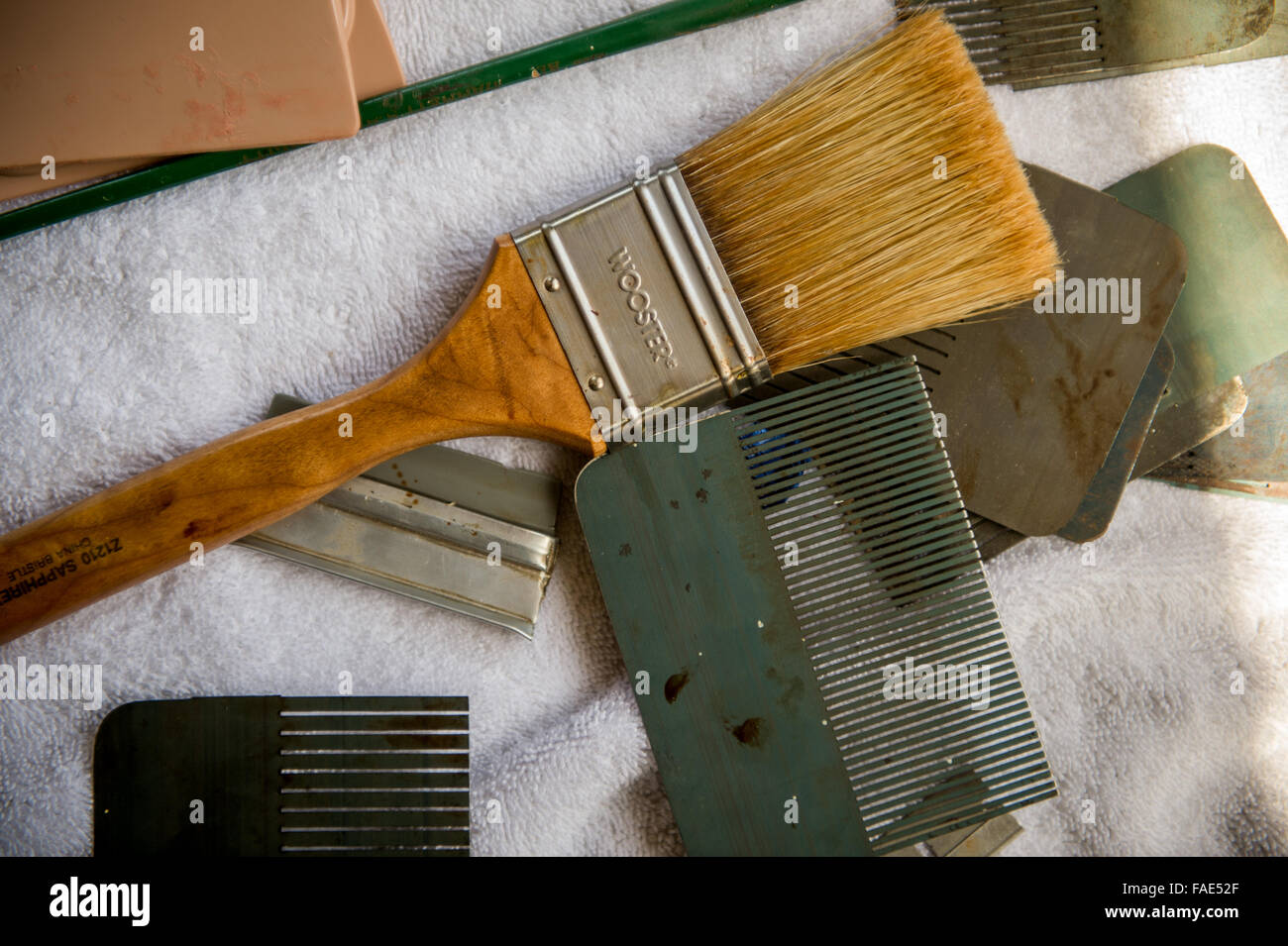 Tools Used For Wood Graining Stock Photo Alamy