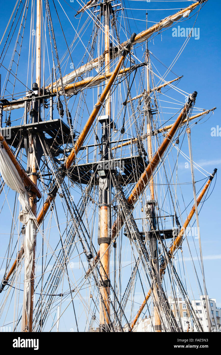 18th Century Ship Sails Stock Photos Tall Rig Types Plate 4 England Ramsgate Grand Turk Replica Man Of War
