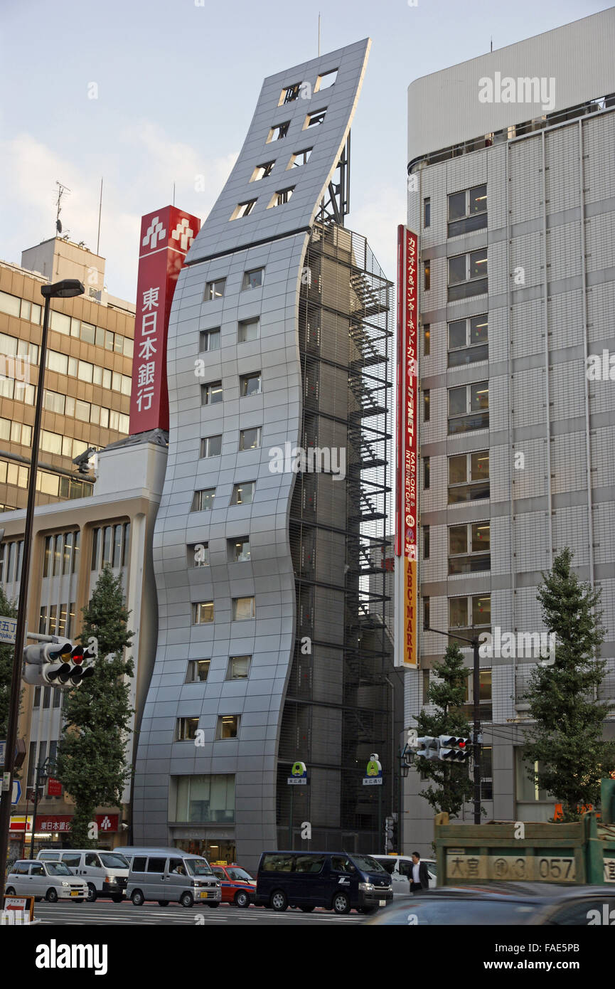 Wobbly building in Tokyo - Stock Image