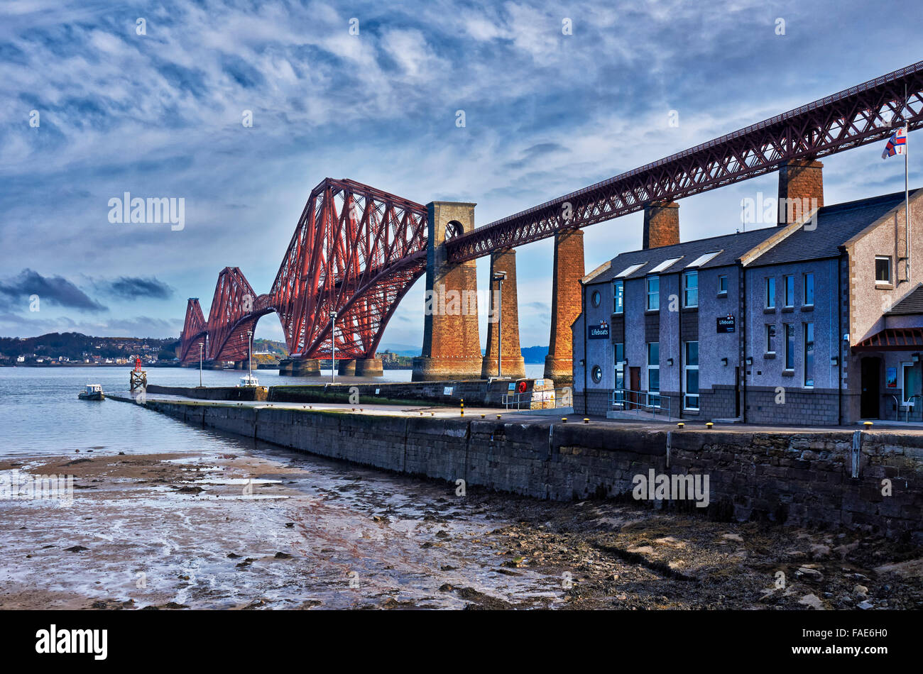 Forth Bridge is a cantilever railway bridge over the Firth of Forth, UNESCO World Heritage Site,  South Queensferry, - Stock Image