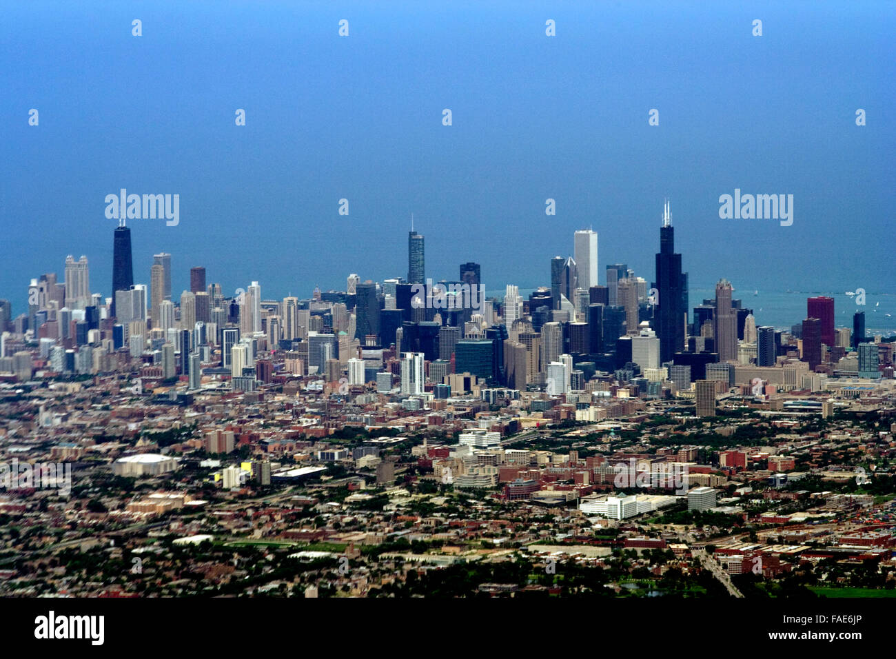 Bird eye view of Chicago downtown - Stock Image
