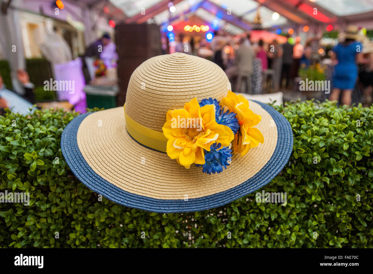 Lady's hat with flowers. - Stock Image