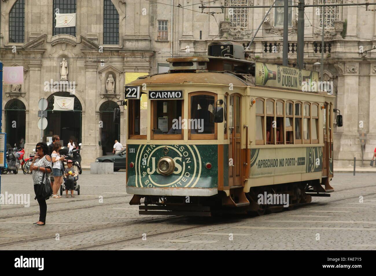 Tram no. 22 at the end stop in Cordoaria, Porto, Portugal Stock Photo