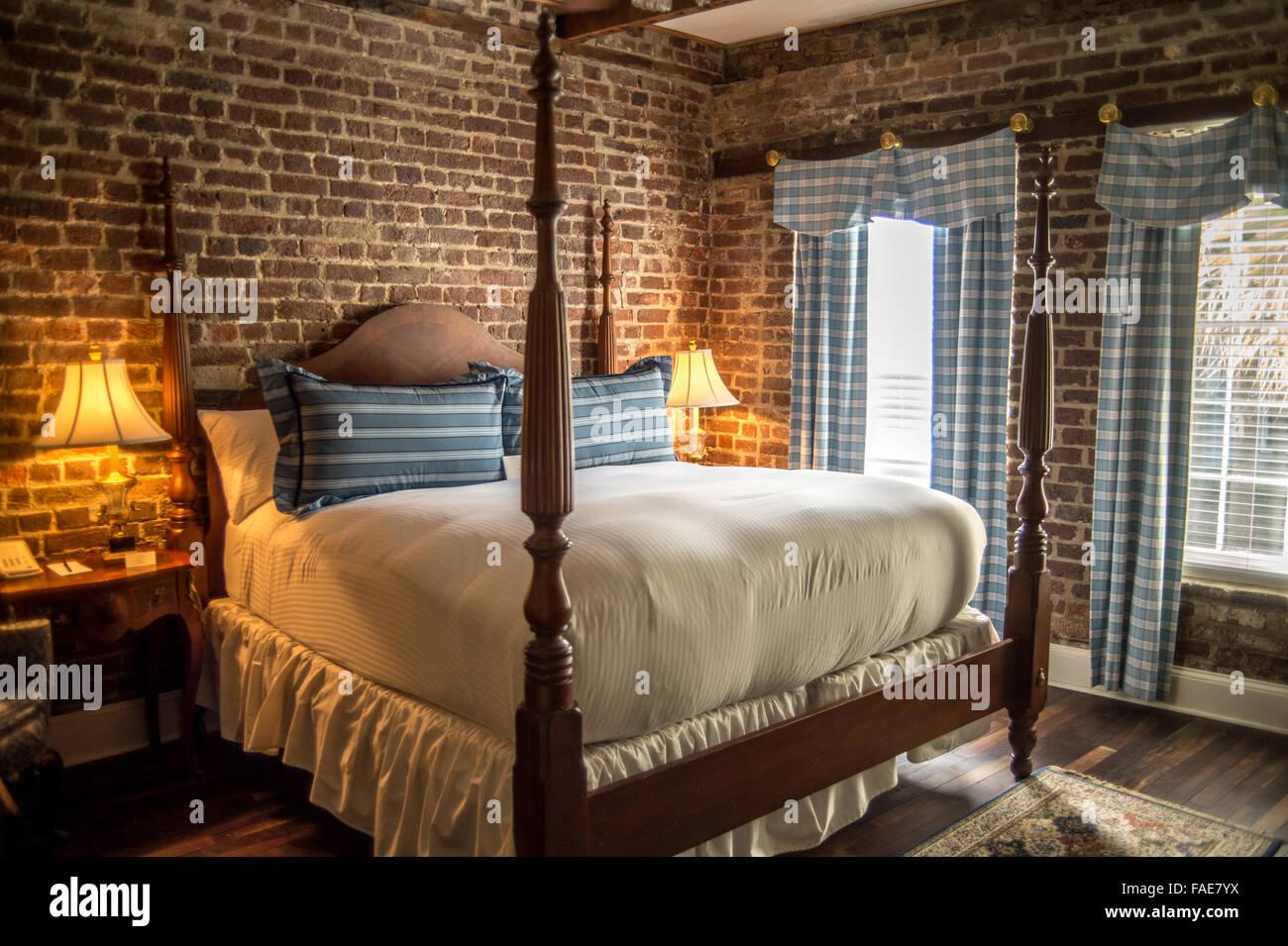 Bedroom in a B&B in Charleston SC - Stock Image