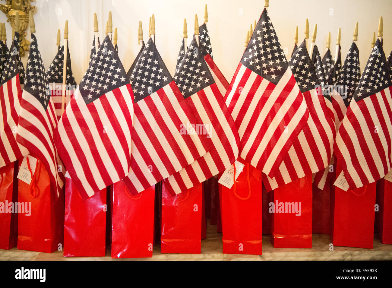 Gift bags with the American Flag Stock Photo