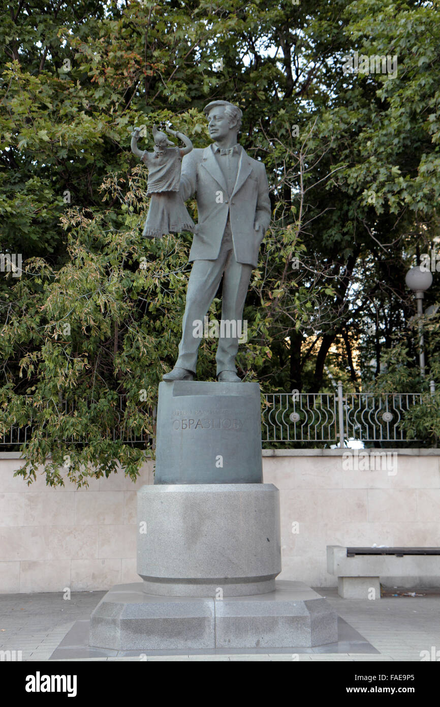 Memorial statue of Sergey Vladimirovich Obraztsov close to the Obraztsov Puppet Theatre in Moscow, Russia. - Stock Image