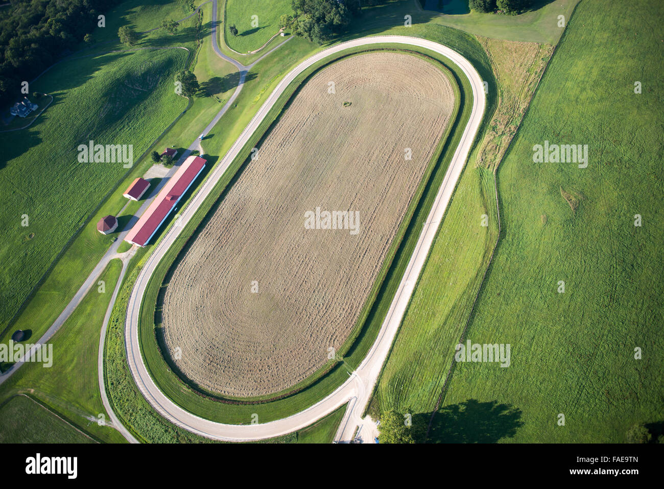Aerial view of a competitive horse track - Stock Image