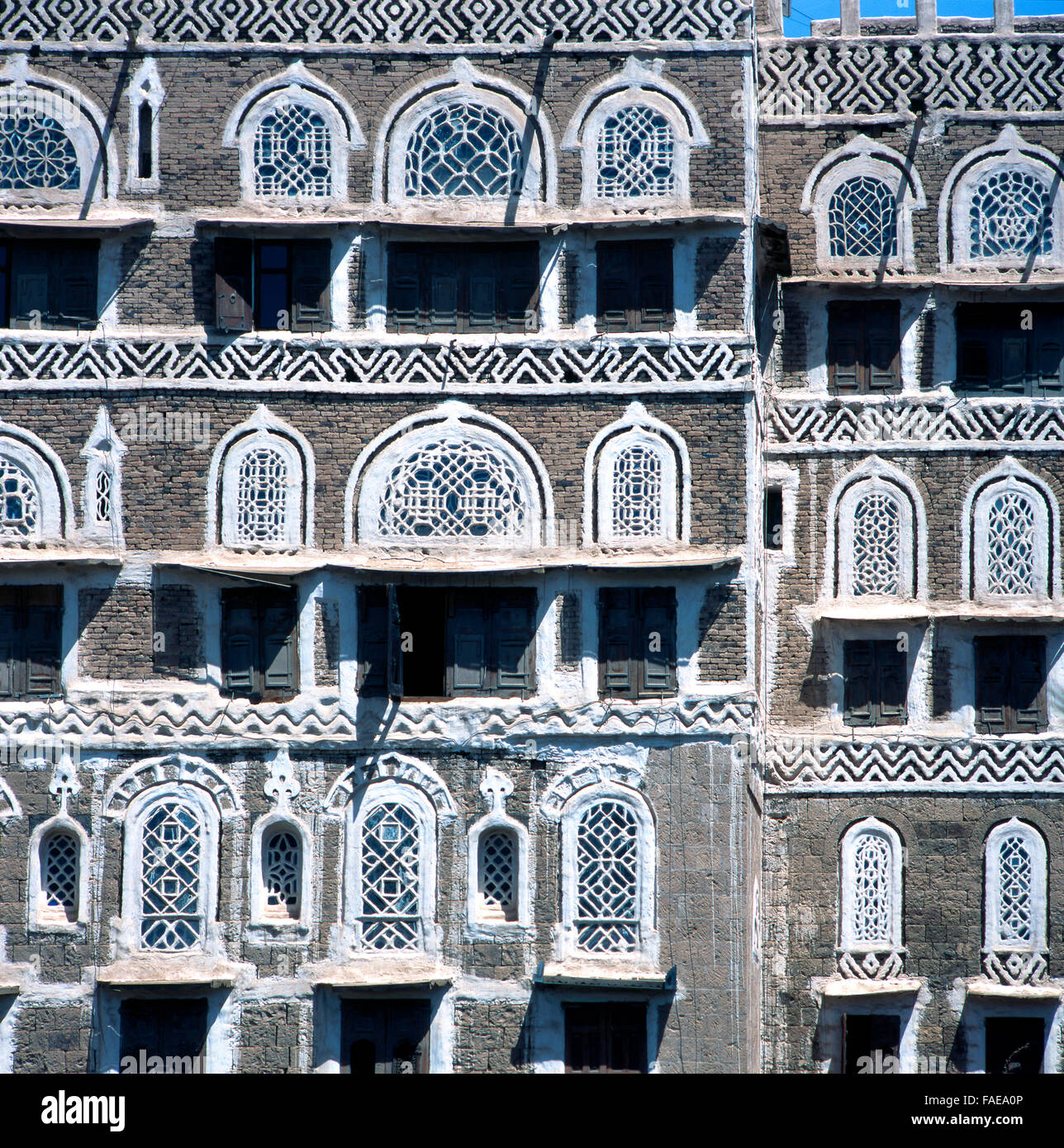 Town houses in the Old Town, Sana'a, Yemen - Stock Image