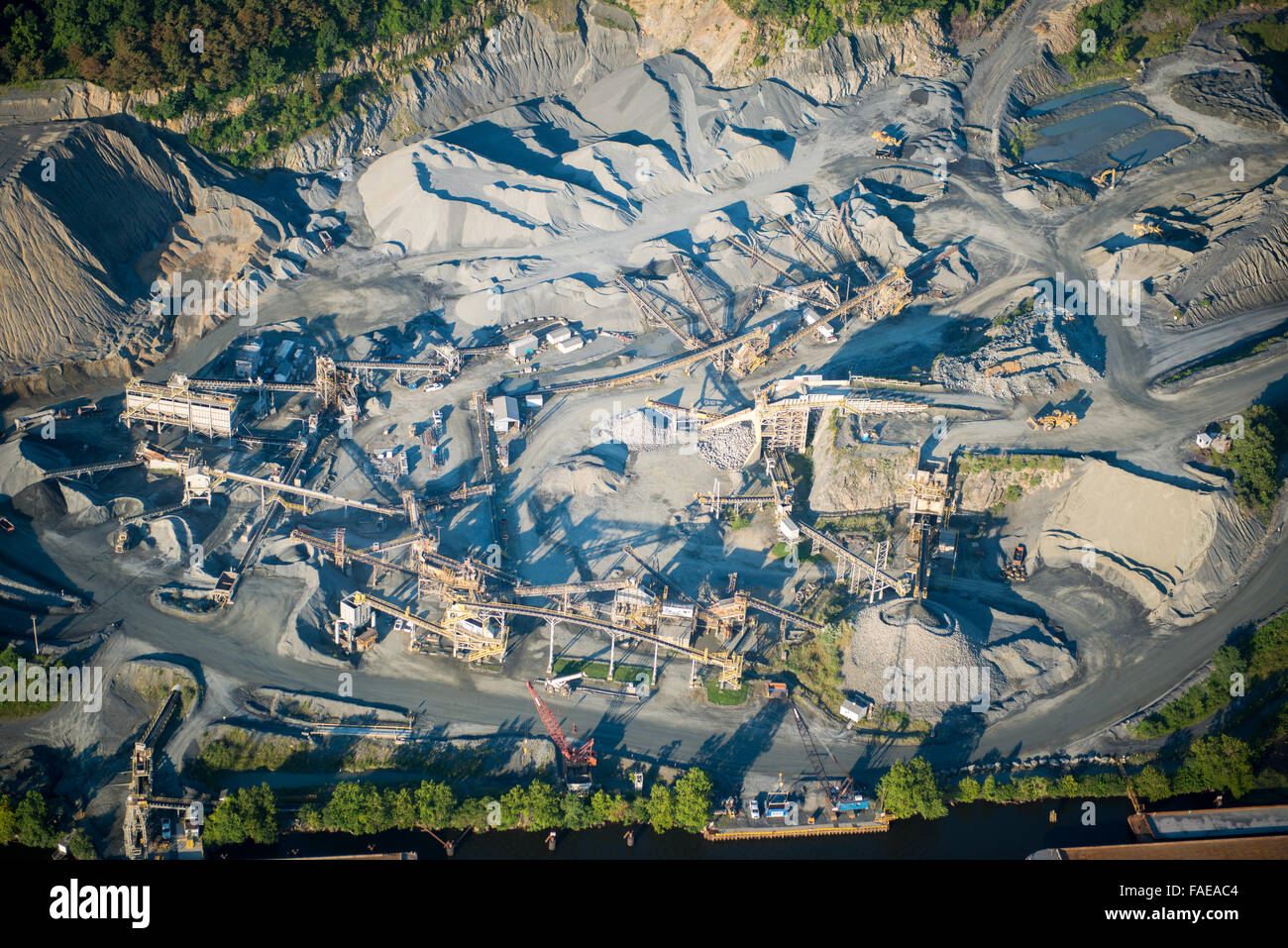 Aerial view of a quarry in Harford County, Maryland - Stock Image