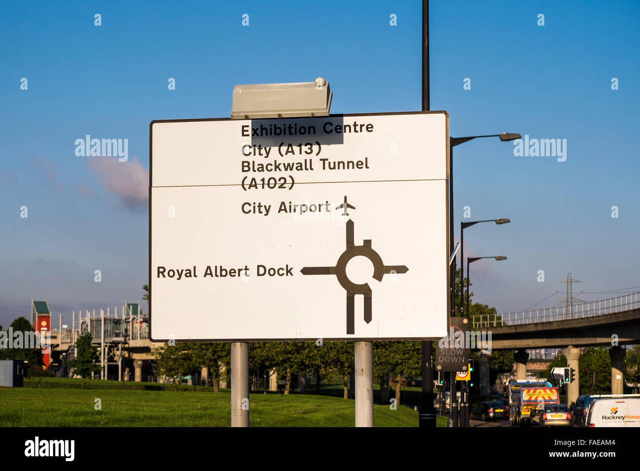 Royal Albert way road sign, London, England, U.K. - Stock Image