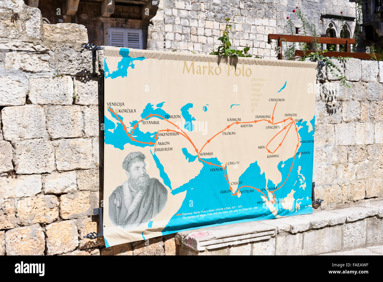A world map tracing marco polo journey on display on a small wall by a world map tracing marco polo journey on display on a small wall by his old house korcula croatia gumiabroncs Image collections