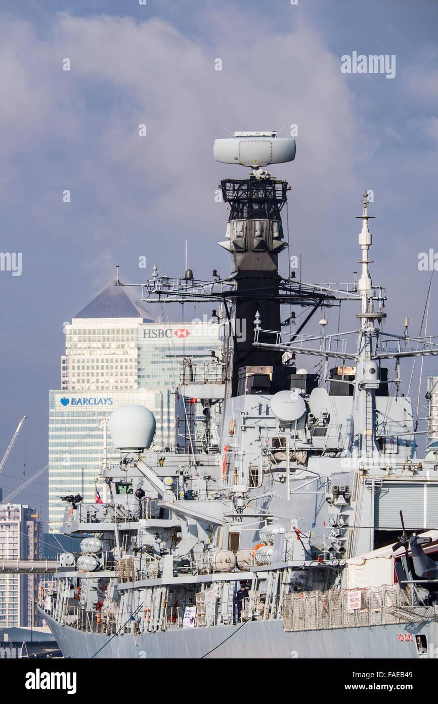 Royal navy Frigate Iron Duke, Docklands, London, England, U.K. - Stock Image