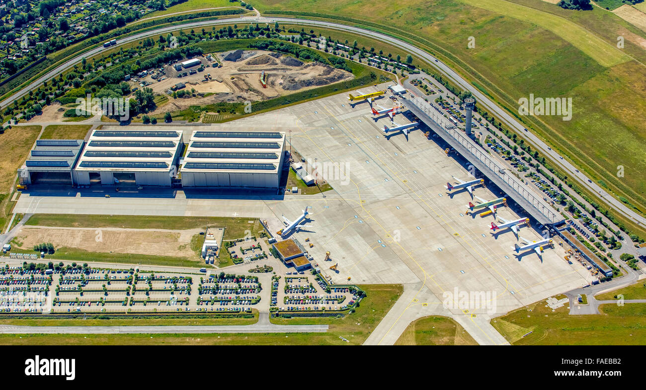 Aerial view, advance with Airbus aircraft and Tower, Finkenwerder Airport, Finkenwerder, Hamburg Airport, Free and - Stock Image
