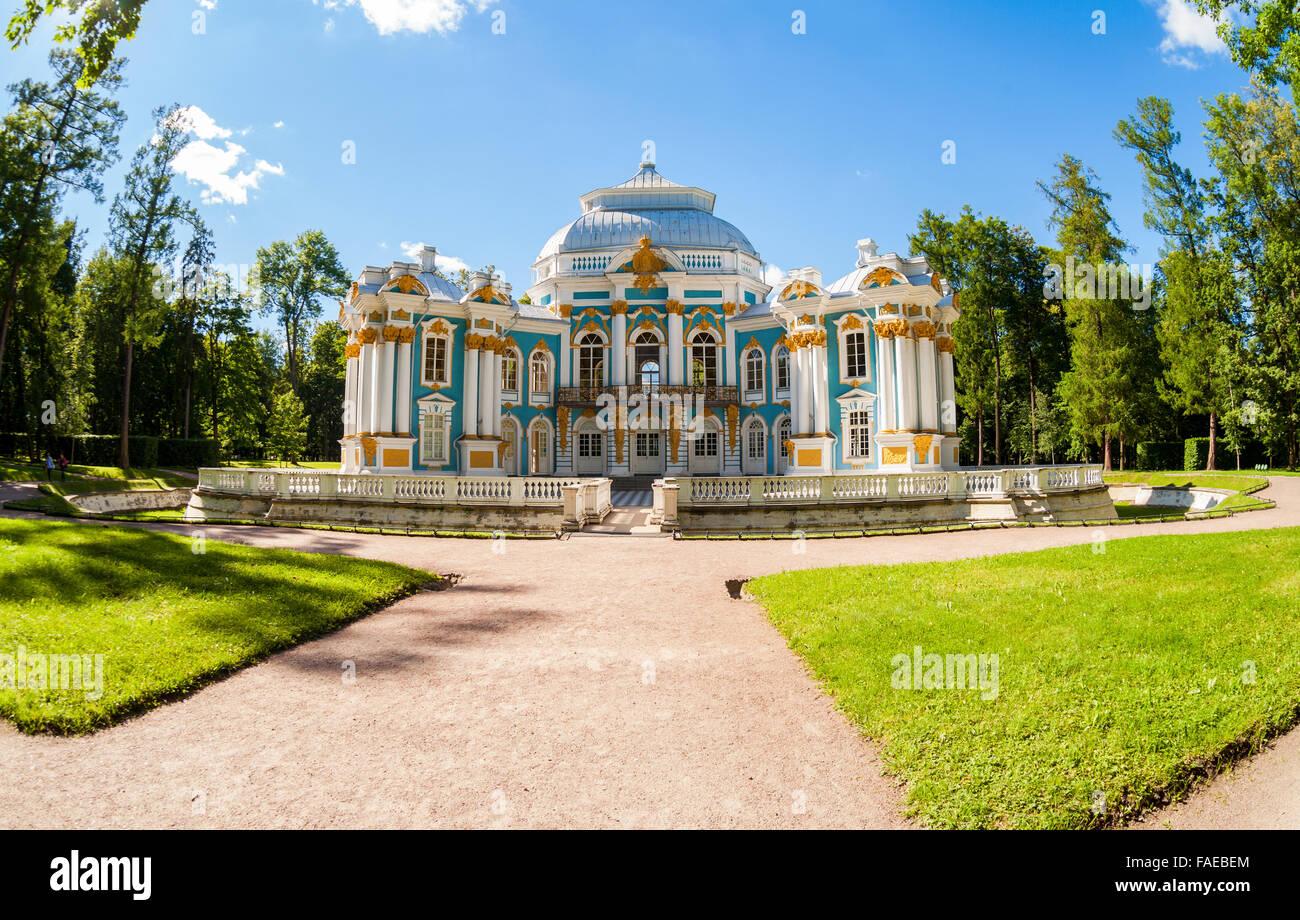 Hermitage Pavilion at the Catherine Park, Tsarskoye Selo in summer sunny day - Stock Image