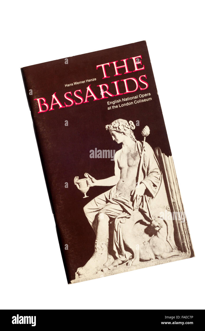 Programme for the 1974 English National Opera production of The Bassarids by Hans Werner Henze at The London Coliseum. Stock Photo