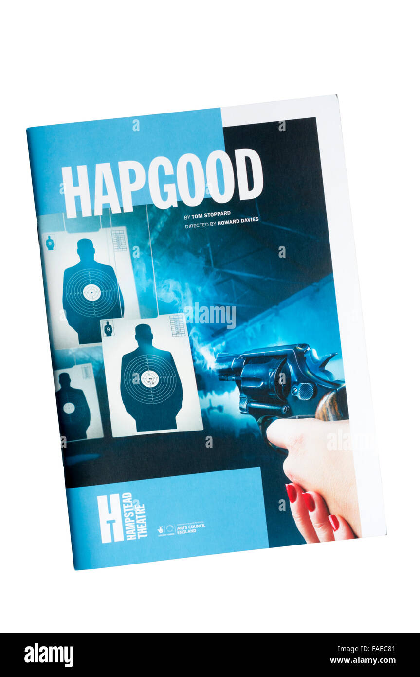 Programme for the 2015 revival of Hapgood by Tom Stoppard at Hampstead Theatre. - Stock Image