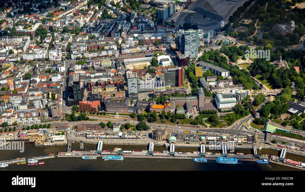 Luftbild, Landungsbrücken, Hamburger Hafen, Elbe,  Hamburg, Freie und Hansestadt Hamburg, Hamburg, Deutschland Stock Photo