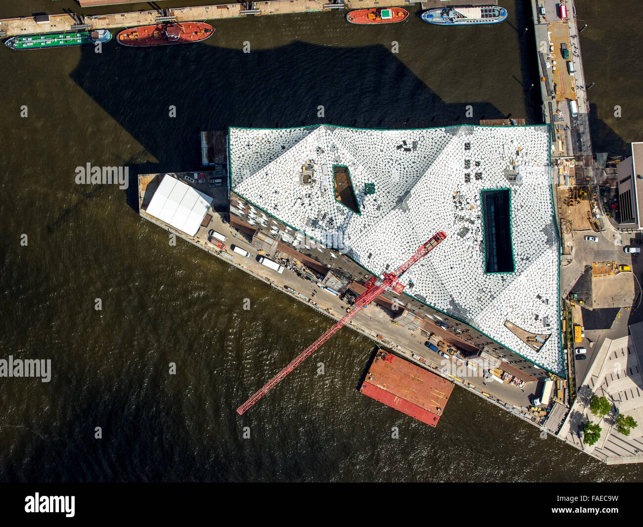 Aerial view, Elbphilharmonie with HafenCity, roof construction of the Elbe Philharmonic Hall, Speicherstadt warehouse - Stock Image