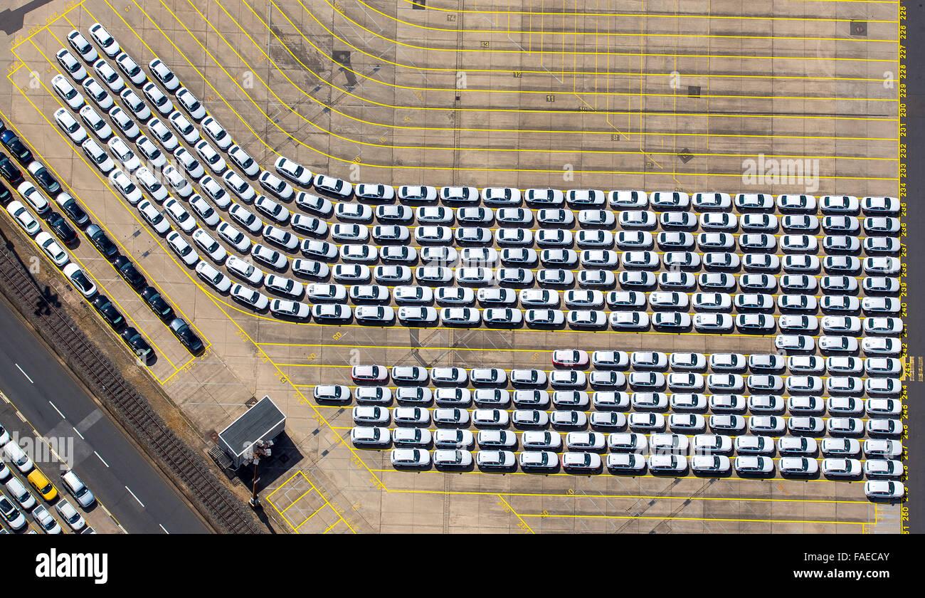 Aerial view, cars loaded on Hansahafen, export cars, import cars, automotive, Unikai the Port of Hamburg, Hamburg - Stock Image