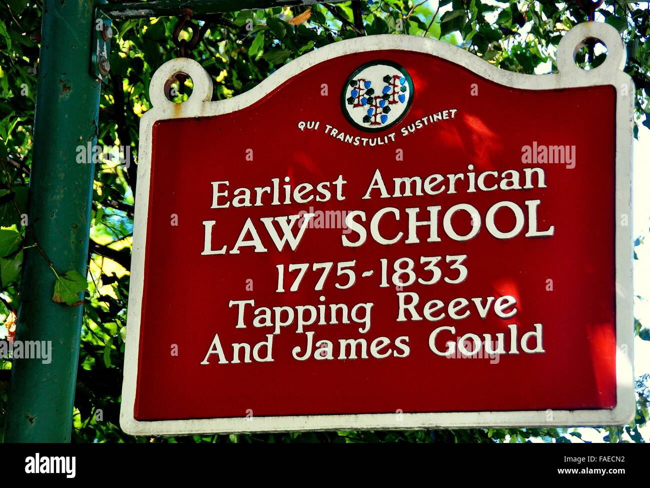 Litchfield, Connecticut:  Sign at the historic 1775-1833 Tapping Reeve and James Gould Law School * - Stock Image