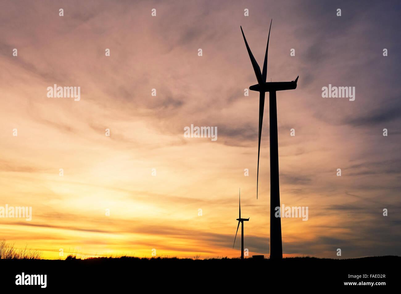 Two wind turbines generating electricity, Whitelee Wind turbines, Eaglesham, near Glasgow, Scotland, Uk - Stock Image