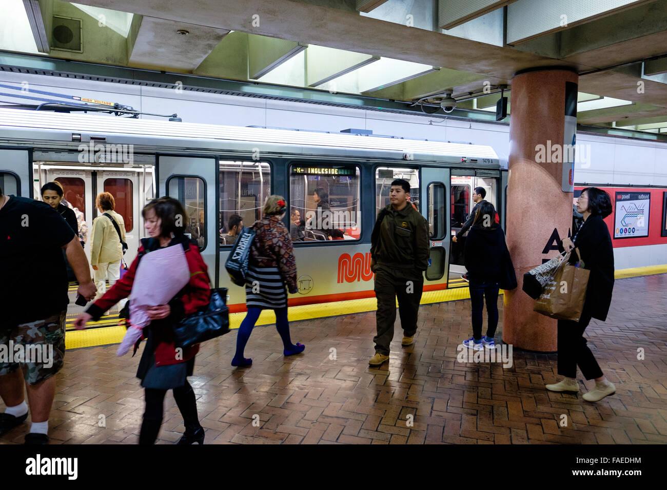 SAN FRANCISCO, CA - DECEMBER 10, 2015: San Francisco underground subway transportation station for Muni and Bart. - Stock Image