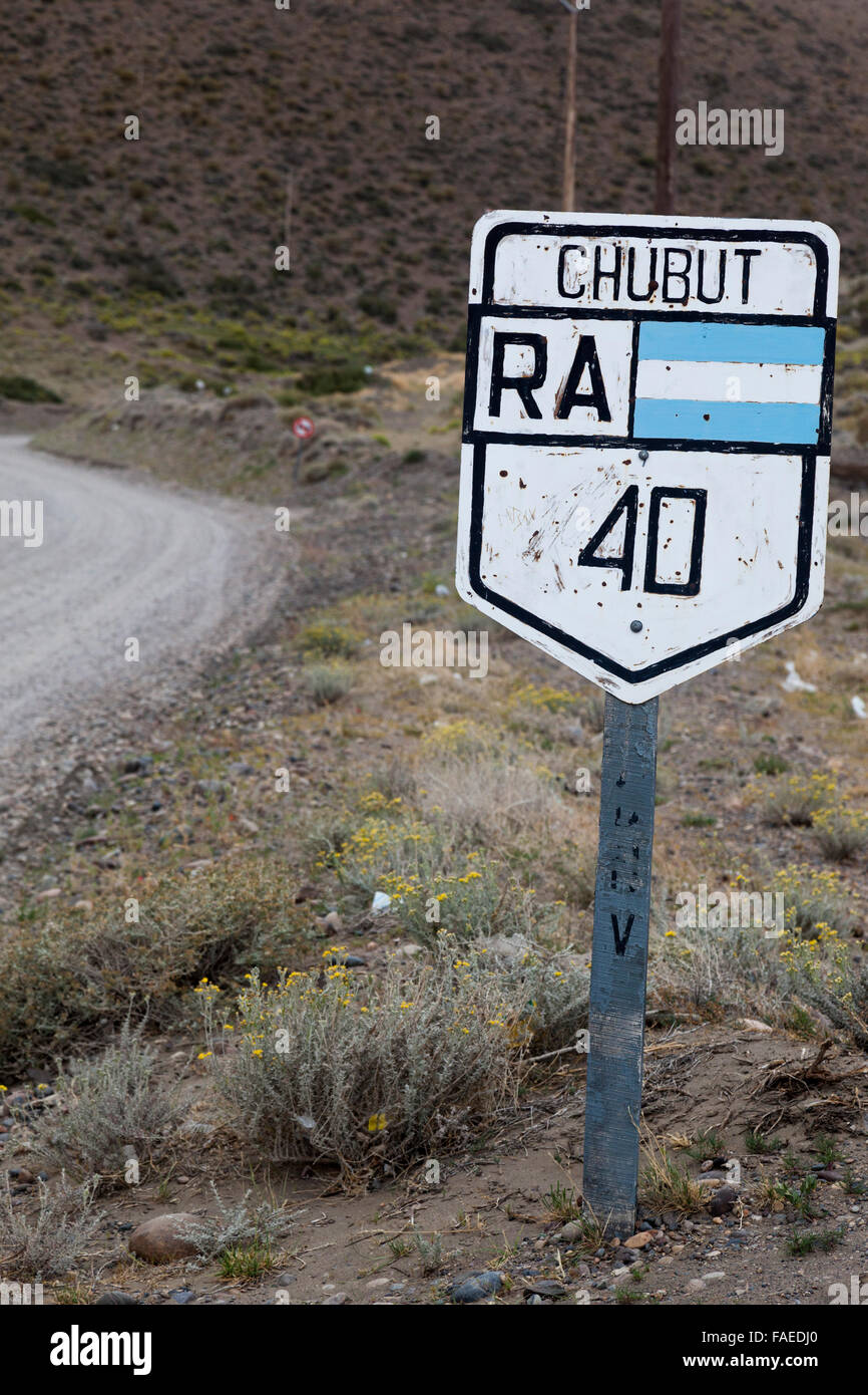 Road sign for Ruta Nacional No. 40 or Ruta 40, national road in Chubut, Argentina, South America - Stock Image