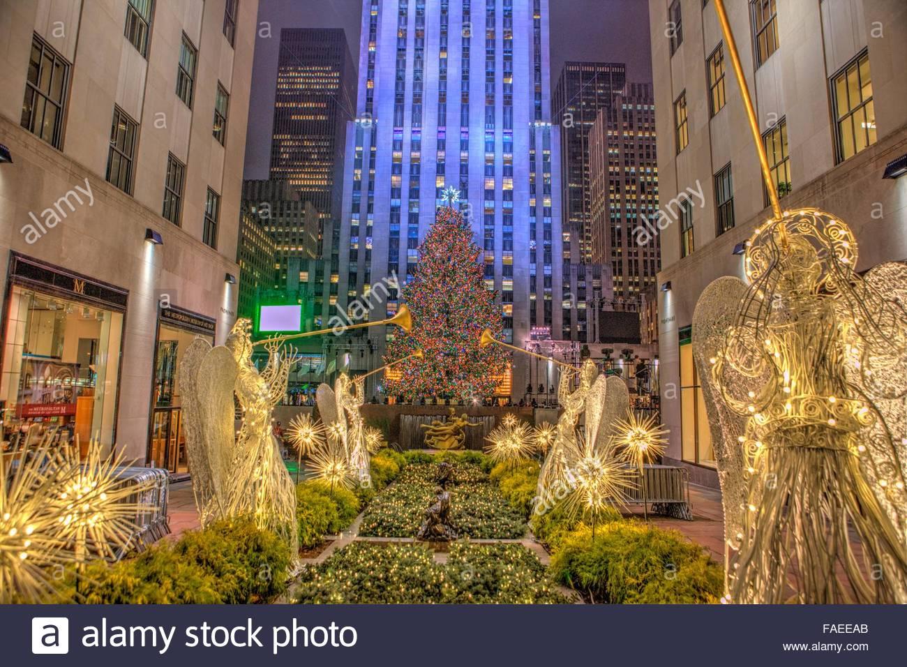 Rockefeller Center Christmas tree during the lighting ceremony Stock ...