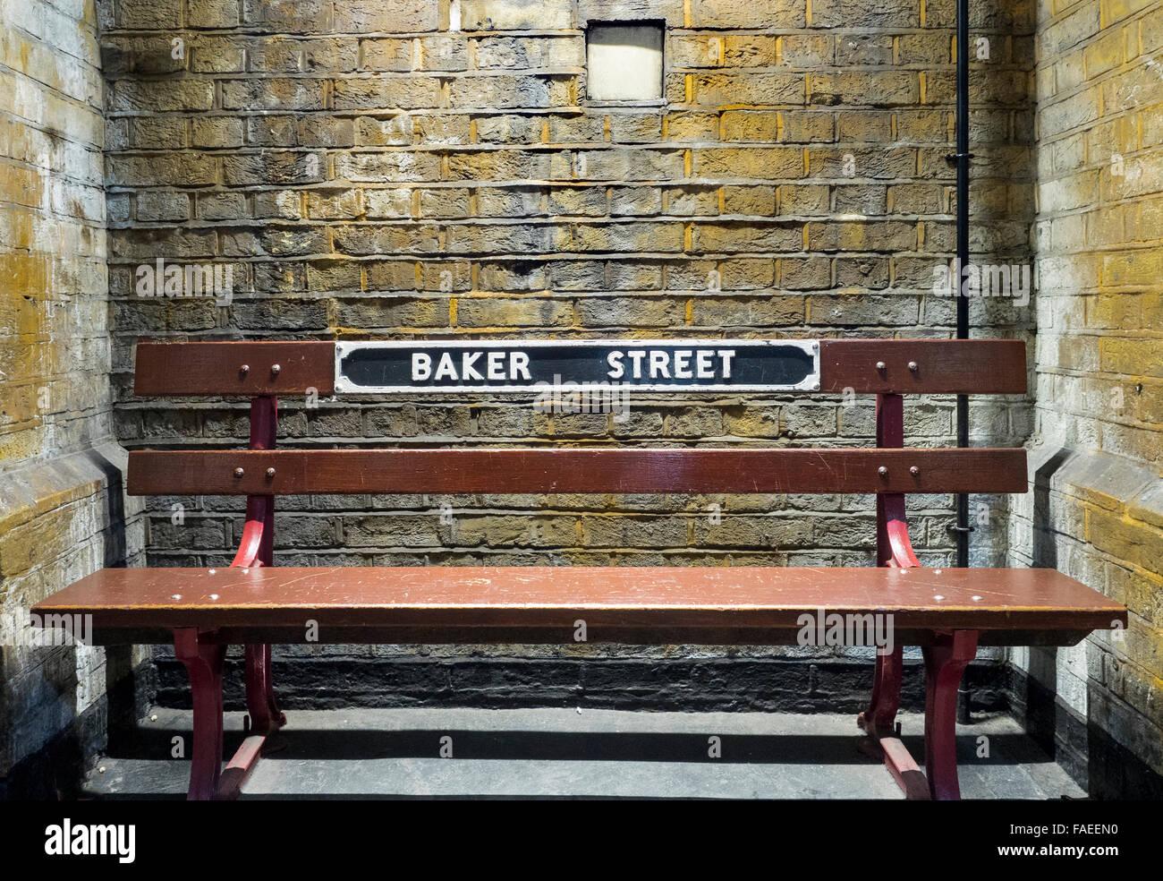 Bench at Baker Street tube station Stock Photo