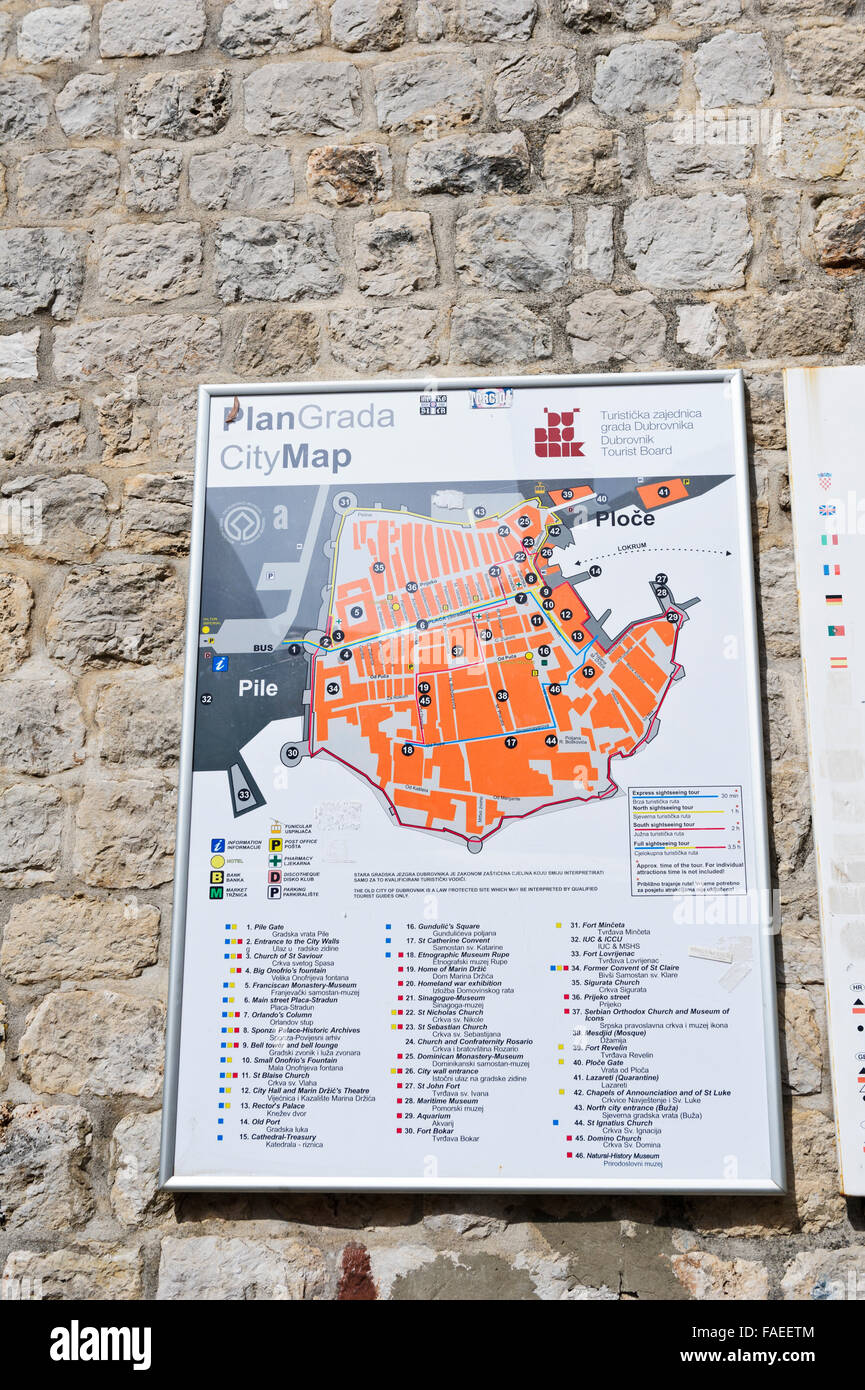 A wall map of all the attractions within the old fortress in stock a wall map of all the attractions within the old fortress in dubrovnik croatia gumiabroncs Gallery