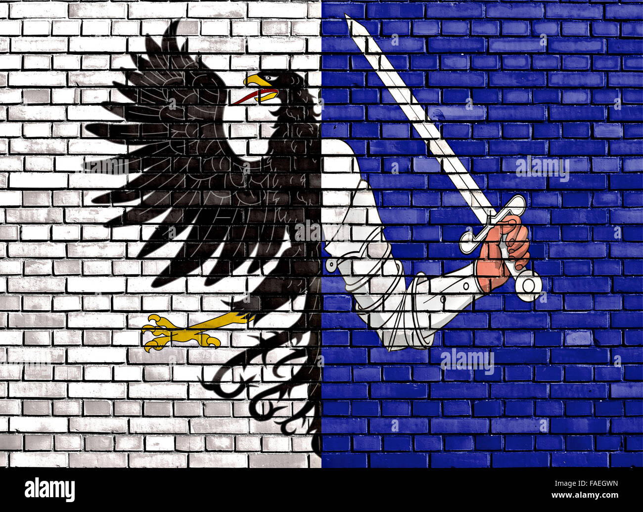 flag of Connacht painted on brick wall - Stock Image