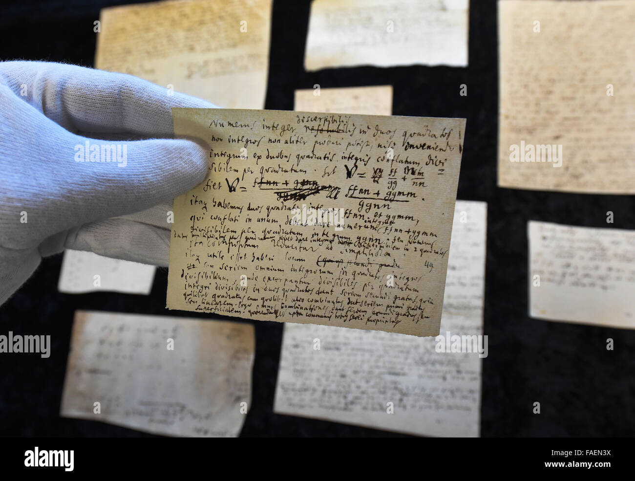 Hanover Germany 08th Dec 2015 Historical Sheets Containing Notes Formulas And Diagrams Mathematical By Polymath Gottfried Wilhelm Leibniz 1646 1716 Are On Display In The