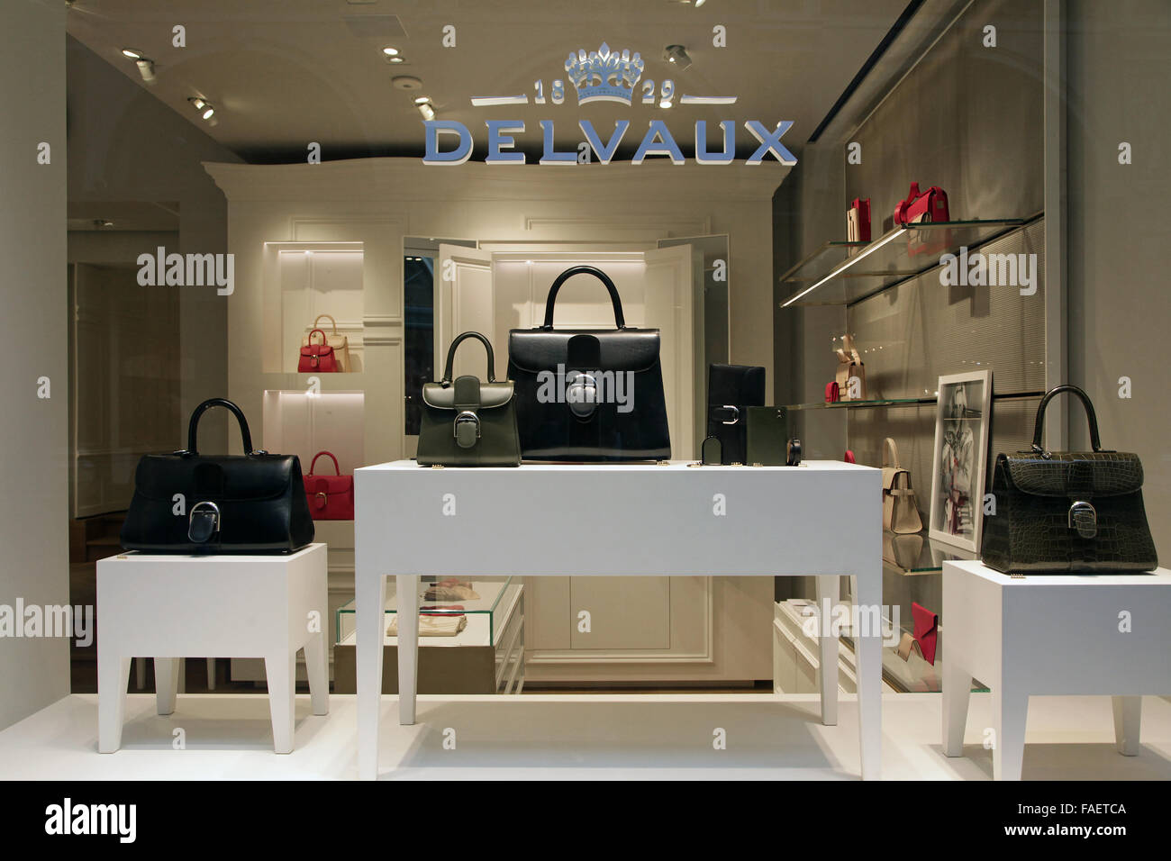Delvaux leather luxury house since 1829. La Maison Delvaux, the oldest fine leather luxury goods company in the Stock Photo
