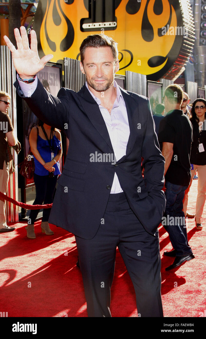 Hugh Jackman at the Los Angeles Premiere of 'Real Steel' held at the Gibson Amphitheatre in Universal City. - Stock Image