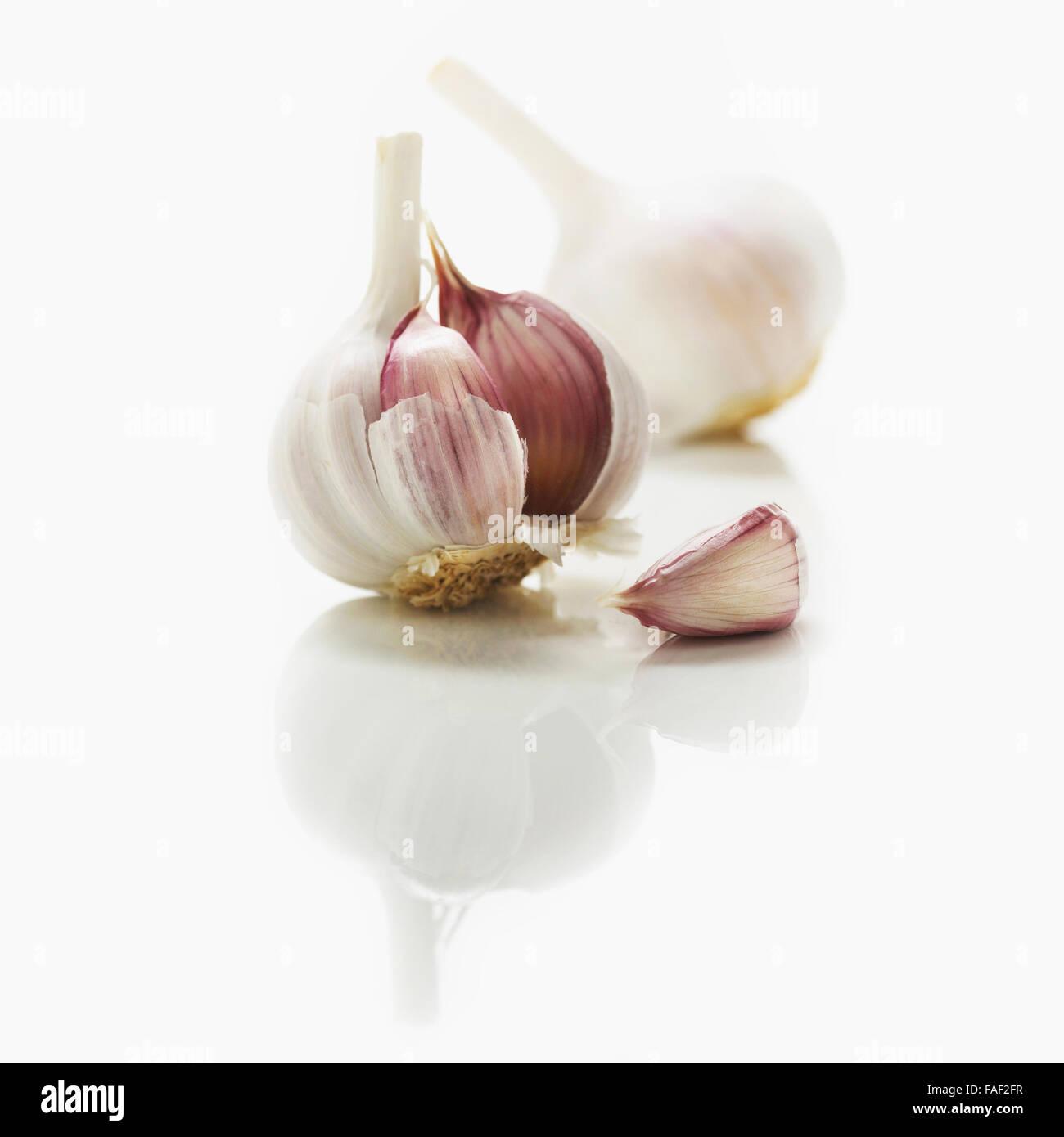 Fresh garlic bulbs on a white kitchen counter. - Stock Image