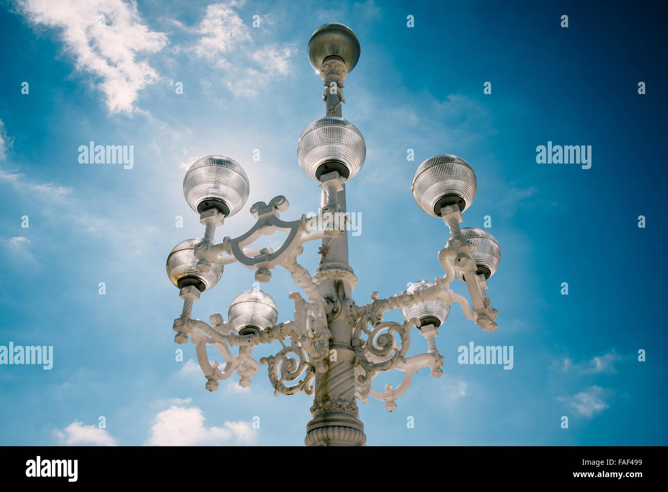 Vintage streetlight in San Sebastian, Spain - Stock Image