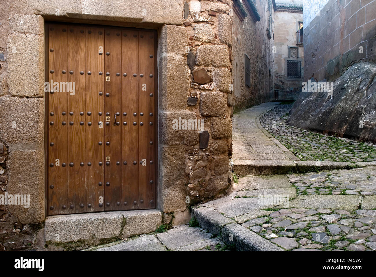 Street historic center of Caceres Extremadura Spain - Stock Image