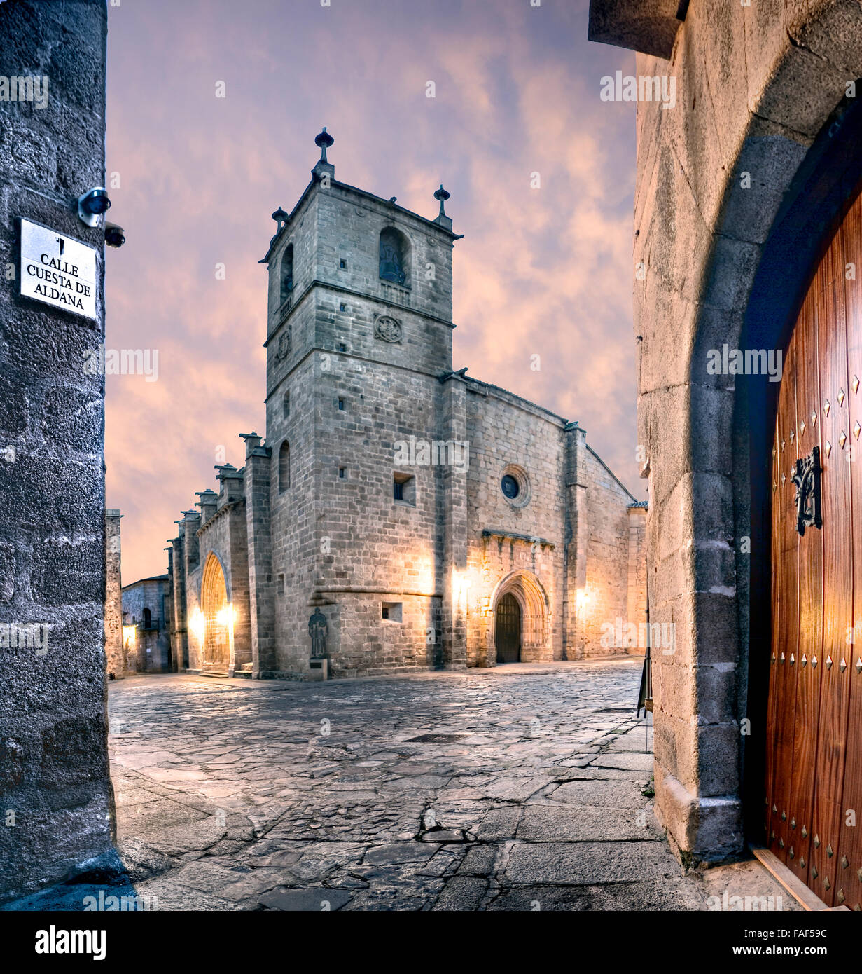 Church Cathedral of Santa Maria historic center Caceres Extremadura Spain - Stock Image