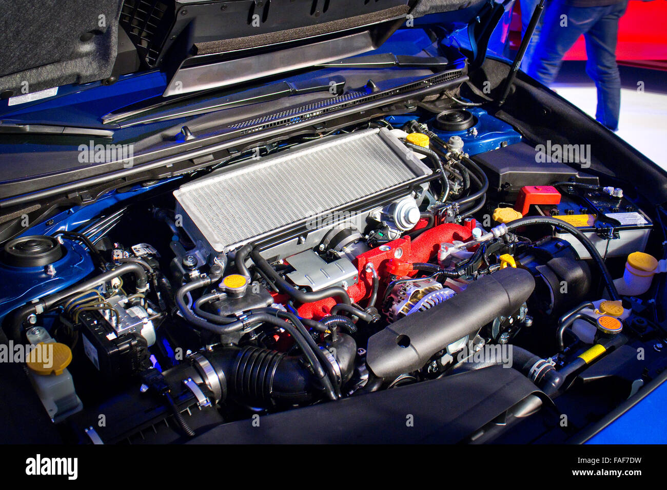 Hong Kong, China April 8, 2014 : Subaru WRX STI 2014 2015 Model engine on April 8 2014 in Hong Kong. - Stock Image