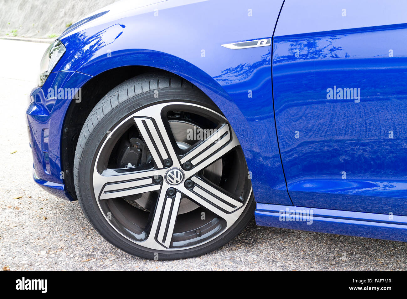 Hong Kong, China April 16, 2014 : Volkswagen Golf R 2014 2015 Version wheel on April 16 2014 in Hong Kong. - Stock Image
