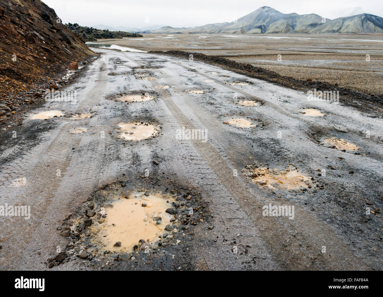 Poor road with potholes, Iceland - Stock Image