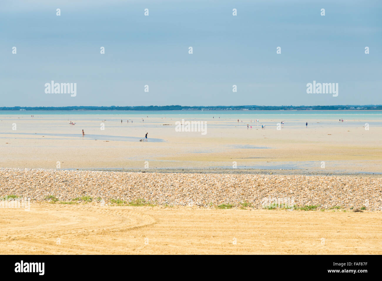 The beach at Ryde Isle of Wight at low tide with large stretch of sand in summer - Stock Image