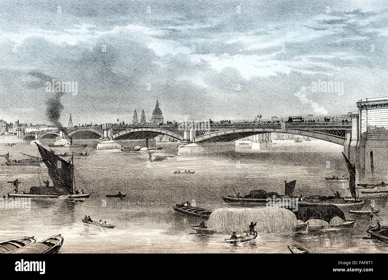 Blackfriars Bridge, a road and foot traffic bridge over the River Thames in London, 19th century, - Stock Image