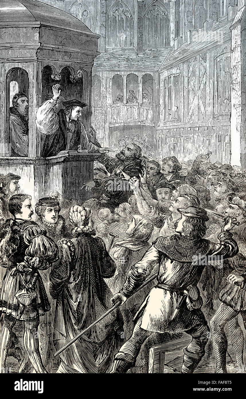 Gilbert Bourne, the last Roman Catholic Bishop of Bath and Wells, preaching at St Paul's Cross, 16th century, - Stock Image