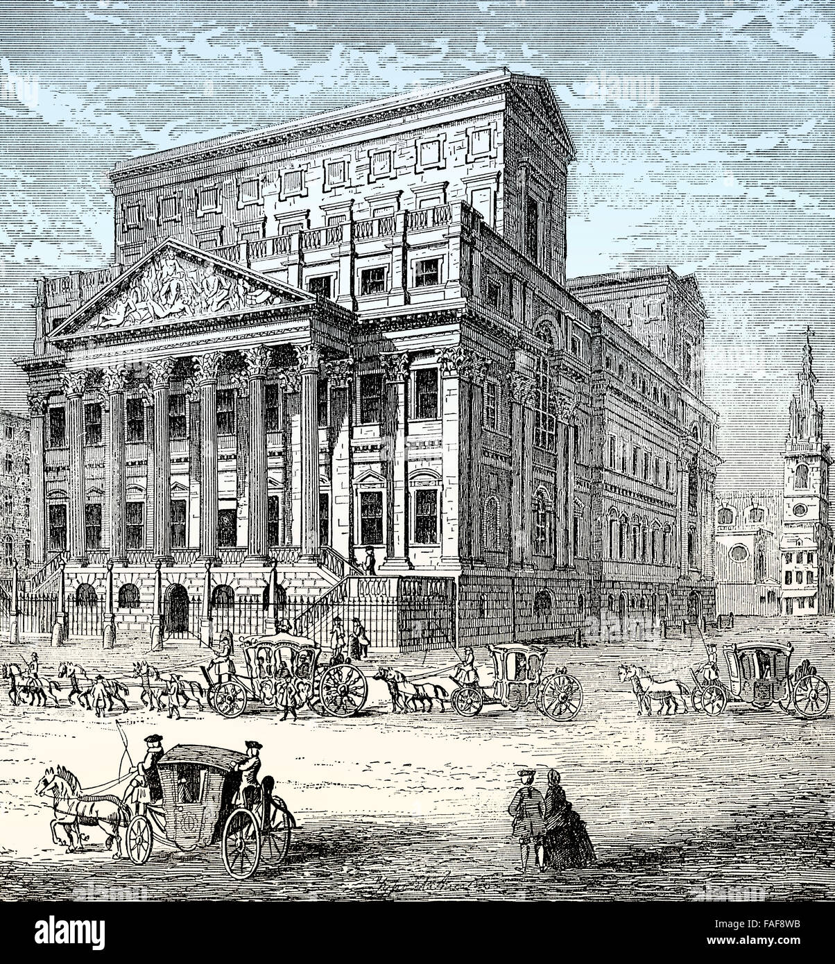 Mansion House, the official residence of the Lord Mayor of London, 18th century, - Stock Image