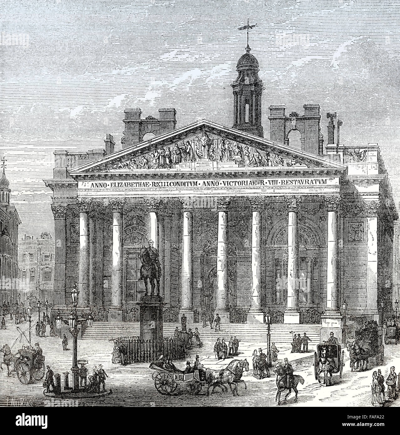 The London Royal Exchange, 19th century - Stock Image